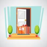 Caja de regalo en el piso de la entrada de la casa sorprenda o entregue libre illustration