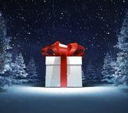 Caja de regalo envuelta en bosque nevoso del invierno Imagen de archivo libre de regalías