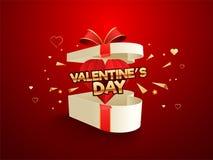 Caja de regalo feliz del día de tarjeta del día de San Valentín en fondo rojo libre illustration