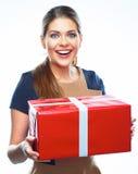 Caja de regalo feliz del presente de la mujer Fotos de archivo libres de regalías