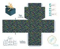 Caja de regalo imprimible con el modelo del confeti Foto de archivo libre de regalías