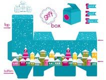Caja de regalo imprimible con la ciudad nevada colorida Fotos de archivo libres de regalías