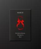 Caja de regalo internacional del día del ` s de las mujeres con la cinta y el arco rojos Ilustración del vector libre illustration