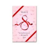 Caja de regalo internacional del rosa del día del ` s de las mujeres con la cinta roja Ilustración del vector Fondo del 8 de marz libre illustration
