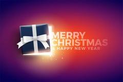 Caja de regalo de la Navidad con las luces mágicas stock de ilustración