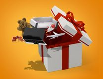 Caja de regalo de la sorpresa 3d-illustration Fotografía de archivo libre de regalías