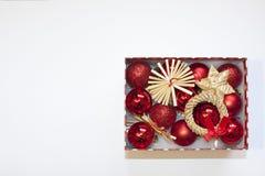 Caja de regalo de las decoraciones de la Navidad de la Feliz Año Nuevo de la Feliz Navidad Imagen de archivo