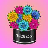 Caja de regalo original con las flores del color Imagen de archivo