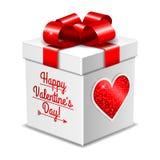 Caja de regalo para el día de tarjeta del día de San Valentín aislada en blanco Fotos de archivo