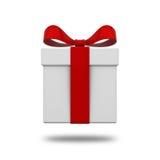 Caja de regalo presente con el arco rojo de la cinta aislado en el fondo blanco con la sombra Fotos de archivo