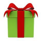Caja de regalo presente con el arco rojo de la cinta en la caja verde para la Navidad aislada Foto de archivo libre de regalías