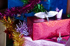 Caja de regalo presente para el concepto de la Navidad y del Año Nuevo Fotos de archivo libres de regalías