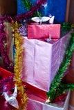 Caja de regalo presente para el concepto de la Navidad y del Año Nuevo Foto de archivo libre de regalías