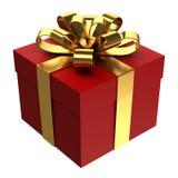Caja de regalo roja con la cinta de oro, fondo transparente del png Fotos de archivo libres de regalías