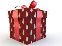 Caja de regalo roja con la representación del ejemplo del arco 3d de la cinta Imagen de archivo libre de regalías