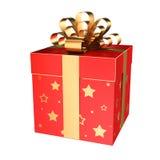 Caja de regalo roja con las estrellas y el arco de oro Imágenes de archivo libres de regalías