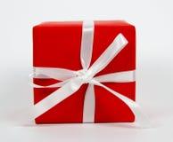 Caja de regalo roja de la visión superior Fotografía de archivo libre de regalías