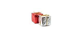 Caja de regalo roja y de plata Fotografía de archivo libre de regalías