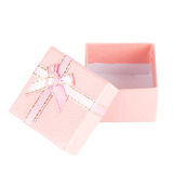 Caja de regalo rosada con el arco de la cinta Foto de archivo libre de regalías