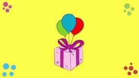 Caja de regalo rosada en amarillo stock de ilustración