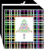 Caja de regalo simple, coloreada y elegante de la Navidad, adornada con el árbol de varios colores ilustración del vector