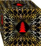 Caja de regalo simple y elegante de la Navidad, adornada con el árbol rojo y la malla de oro en fondo negro libre illustration
