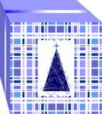 Caja de regalo simple y elegante de la Navidad, adornada con el árbol de varios colores azules stock de ilustración