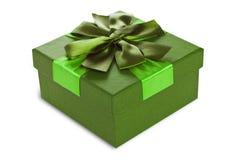 Caja de regalo verde Fotos de archivo