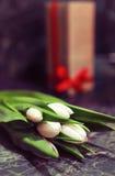 Caja de regalo y tulipanes blancos Fotografía de archivo libre de regalías