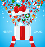 Caja de Santa Claus Hands Holding Open Gift ilustración del vector