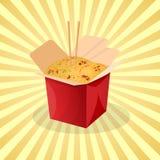 Caja de tallarines del wok - la historieta linda coloreó la imagen Elementos del diseño gráfico para el menú, empaquetado, hacien Fotografía de archivo
