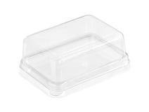 Caja de torta plástica Fotos de archivo