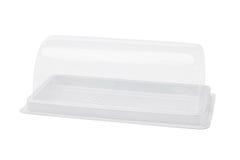 Caja de torta plástica vacía Foto de archivo