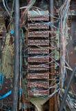 Caja de transferencia vieja del teléfono con los alambres Foto de archivo libre de regalías