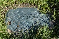 Caja de válvula verde de control de la irrigación Fotografía de archivo libre de regalías