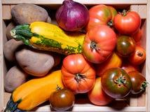 Caja de verduras frescas Visión superior Foto de archivo