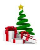 Caja del árbol de navidad y de regalo en blanco Fotos de archivo libres de regalías