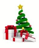 Caja del árbol de navidad y de regalo en blanco Foto de archivo libre de regalías