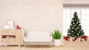 Caja del árbol de navidad y de regalo en la sala de estar - ilustraciones por día de la Navidad o Feliz Año Nuevo - representa stock de ilustración