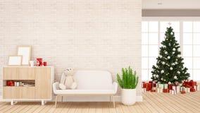 Caja del árbol de navidad y de regalo en la sala de estar o el sitio del niño - ilustraciones por día de la Navidad o Feliz A stock de ilustración