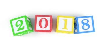 caja del alfabeto del Año Nuevo 2018 en un ejemplo blanco del fondo 3D Fotografía de archivo