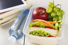 Caja del almuerzo con el bocadillo, verduras y fruta, botella de agua y cojín en un fondo blanco Foto de archivo