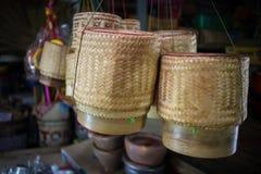 Caja del arroz hecha de bambú Fotografía de archivo libre de regalías