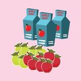 Caja del cartón del zumo de manzana Foto de archivo libre de regalías