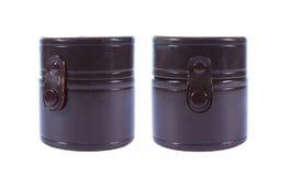 Caja del cuero del marrón del cilindro de la colección Imágenes de archivo libres de regalías