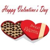 Caja del día de tarjeta del día de San Valentín de fondo del blanco del caramelo de chocolate Fotografía de archivo