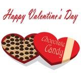Caja del día de tarjeta del día de San Valentín de fondo del blanco del caramelo de chocolate Fotos de archivo