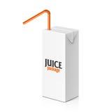 Caja del jugo o de la leche con la paja de beber Imagen de archivo libre de regalías