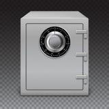 Caja del metal del icono en fondo transparente Caja fuerte con la cerradura digital, detalles sofisticados Foto de archivo libre de regalías