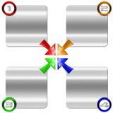 Caja del metal del paso siguiente con las flechas coloreadas Imagen de archivo libre de regalías